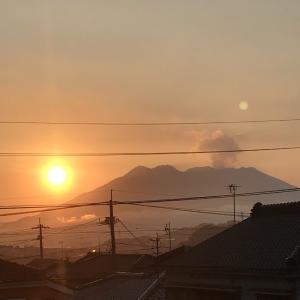 朝日と桜島