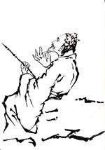"""『 人物十八描法 』から""""曹衣描""""と""""橛头钉描""""を描く"""
