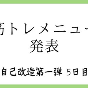 <自己改造計画第一弾4日目>筋トレメニュー発表