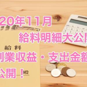 アラフォーシングルの2020年11月のリアルな給料明細書&副業(複業)収入・支出金額大公開!