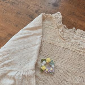 花のリースブローチ*レース編み