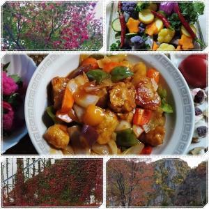 山の紅葉と野菜の紅葉