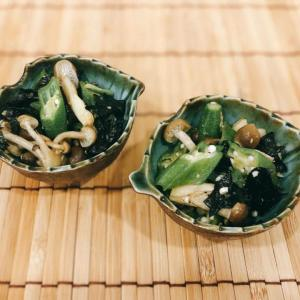 超速副菜 オクラとしめじの海苔ナムル