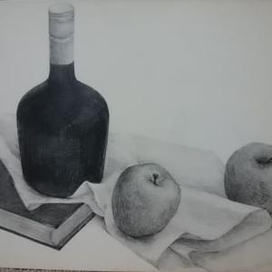 白黒静物画です。