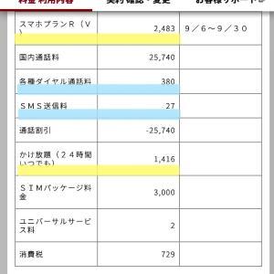 (9月の請求書) UQモバイル/楽天モバイル
