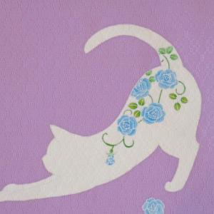 伝統工芸士・本田早苗さんの「薔薇猫」帯 届きました!藍の花織に乗せて。
