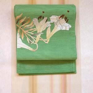 琉球美絣に百合の刺繍夏帯。着物美人来店記念で500円券プレゼント