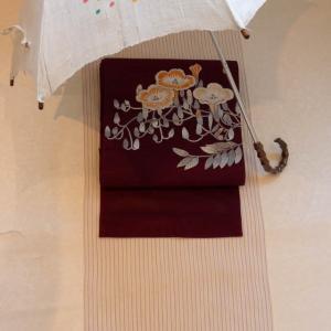 小千谷縮に昼顔刺繍の帯。今ならまだ今年の着用にお仕立間に合います!