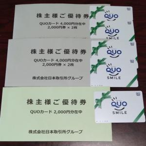 優待到着 JPX(クオカ)/KWE(クオカ)/イオン九州(ギフトカード)/USS(クオカ)/スシロー(優待券) 今週の総資産