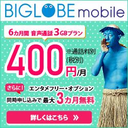格安SIM・格安スマホ【BIGLOBEモバイル】の概要と評判!メリット・デメリット!