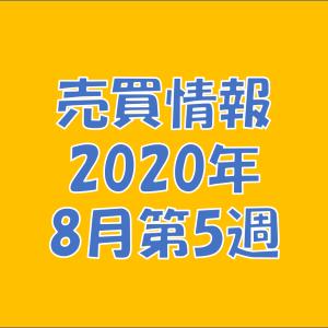 【売買情報】2020年8月第5週の取引内容