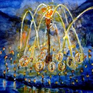 【透明水彩】京都の「花脊松上げ」の水彩画を描きました