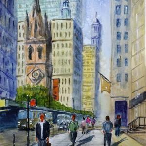 【風景スケッチ】「ニューヨークの街角で/ウォール街」を透明水彩で描きました。トリニティ教会界隈