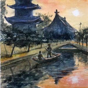 【京都風景スケッチ】「朝焼の東寺/五重塔」を透明水彩で描きました。新幹線から見える五重塔です