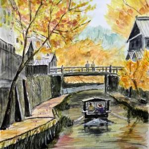 【関西風景スケッチ】近江八幡の八幡堀を透明水彩で描きました。時代劇の舞台になる風景があります