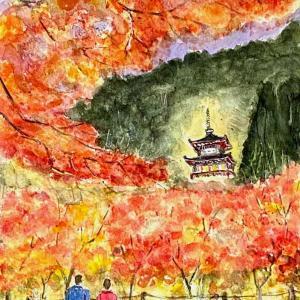 【京都風景スケッチ】永観堂の紅葉のライトアップを透明水彩で描きました。AVALON紙、使ってみました
