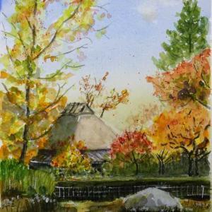 【京都風景スケッチ】嵯峨野・落柿舎の秋を透明水彩で描きました