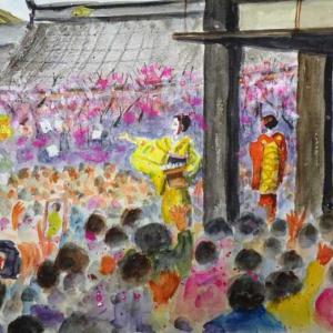 【京都風景スケッチ】北野天満宮の節分祭を透明水彩で描きました。上七軒の舞妓さんが豆まきをしているところです
