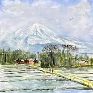 【風景スケッチ】残雪の伊吹山を描きました。