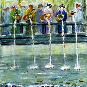 【京都風景スケッチ】白川巽橋の祇園放生会を透明水彩で描きました