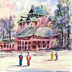 【京都風景スケッチ】平安神宮の蒼龍楼を透明水彩で描きました