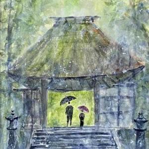 【京都風景スケッチ】雨の法然院を透明水彩で描きました