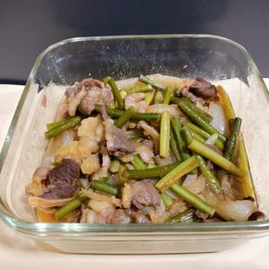 牛肉とにんにくの芽の炒め物【簡単焼くだけ】