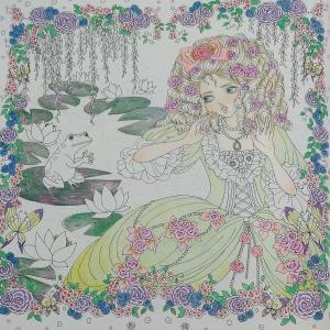お姫様と妖精の塗り絵ブック カエルの王子様 途中2