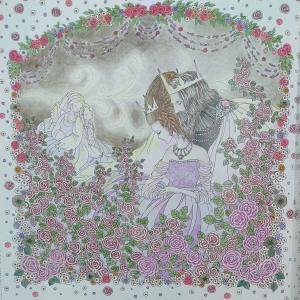 お姫様と妖精の塗り絵ブック3 眠りの森の姫左ページ