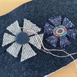 ウールのバック 刺繍糸で