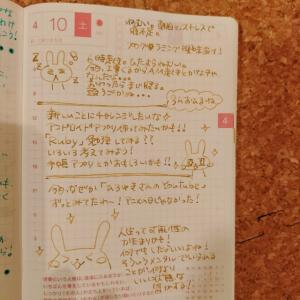 「ほぼ日手帳!こんな感じで使ってます♡\(*ˊᗜˋ*)/♡ 万年筆で書くのが楽しい!✨さすが、トモエリバー!✨ほぼ日手帳は、「思考の記録」担当として、お仕事開始しています!!✨