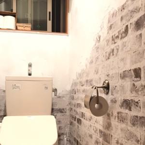トイレも機能的に!レンガと漆喰のシャビーな壁