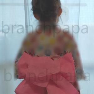 浴衣を着たい上の娘を着付けて髪をセッティングしてあげたら凄く喜んだ