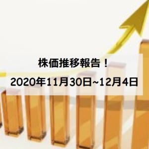 【資産運用】保有銘柄の株価推移(2020/11/30~12/4)