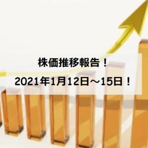 【資産運用】保有銘柄の株価推移(2021/1/12~15)