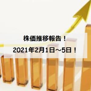 【資産運用】保有銘柄の株価推移(2021/2/1~5)