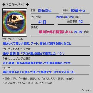 【ブロガーバトン】びっくり! ブロガーバトンが回ってきた!Blog 「時の化石」ShinShaです。皆様よろしくお願い致します。