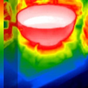 測定:オーバーヒートの原因、リビングの熱源のサーモグラフィー