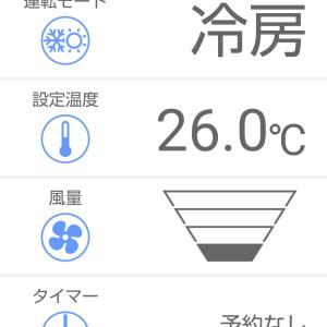 梅雨入り後の大雨の朝のキッチンエアコン冷房の湿度と温度