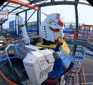 実物大ガンダム視点で横浜の街を一望 ソフトバンクが5G活用で