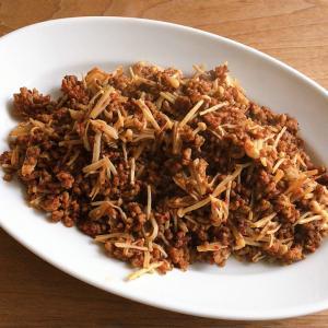 作り置きレシピ 合挽肉とえのきだけの唐辛子炒め
