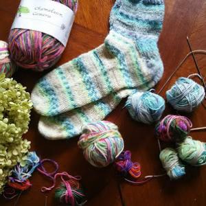 手編み靴下できました
