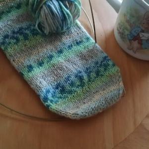 手編みソックスのかかと出来ました