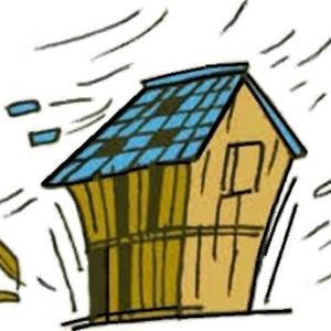 台風で屋根瓦が壊れて雨漏れしました