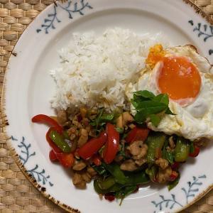 ベランダ菜園のホーリーバジルでタイ料理 ガパオライス