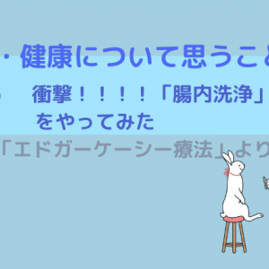 「医学・健康について思うこと」 Vol.6(衝撃!!!!「腸内洗浄」をやってみた)