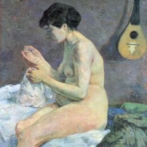 裸で縫物(ゴーギャンの絵より)