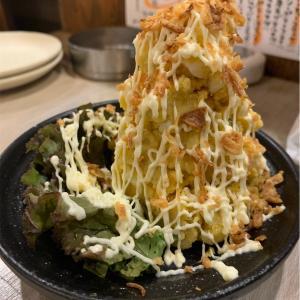 大阪南方 ラッキー酒場 安納芋のポテサラ美味しい!