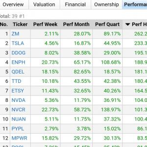 FinvizサイトでNASDAQ株探し★大型株の6ヶ月上昇率ランキング~2020/10/9★時価総額100億$以上
