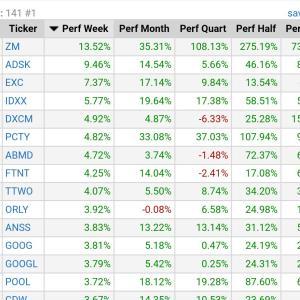 NASDAQの安定上昇株探し★大型株の週間上昇率★Finvizサイト★Zoom11位★2020/10/17★時価総額100億$以上